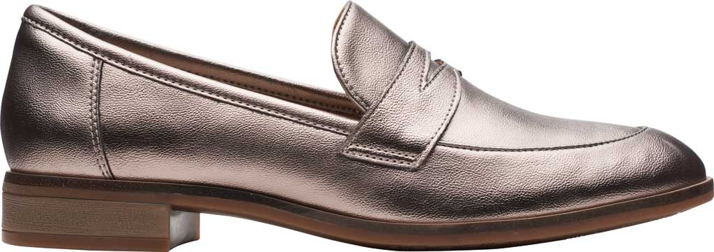 Women's Clarks Trish Rose Penny Loafer, Metallic Synthetic, large, image 2