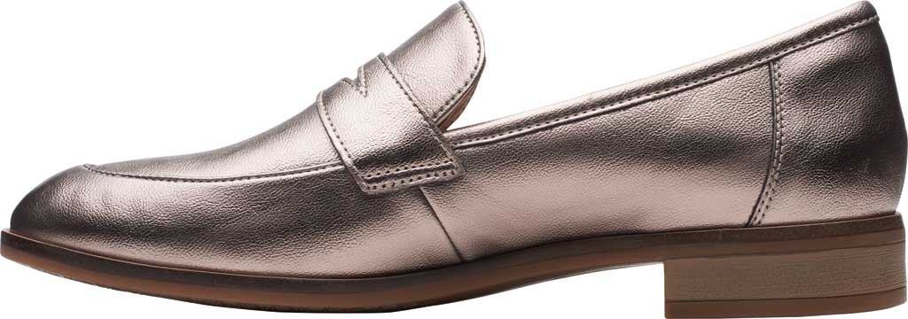 Women's Clarks Trish Rose Penny Loafer, Metallic Synthetic, large, image 3