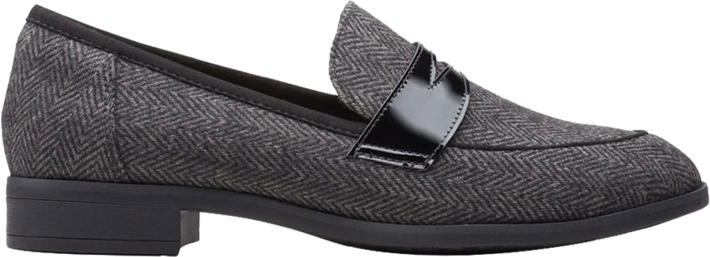Women's Clarks Trish Rose Penny Loafer, Black Combination Textile/Leather, large, image 2