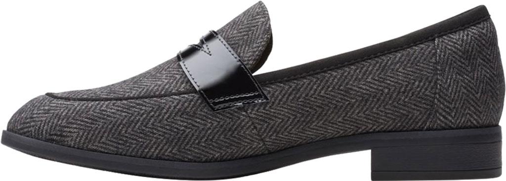 Women's Clarks Trish Rose Penny Loafer, Black Combination Textile/Leather, large, image 3