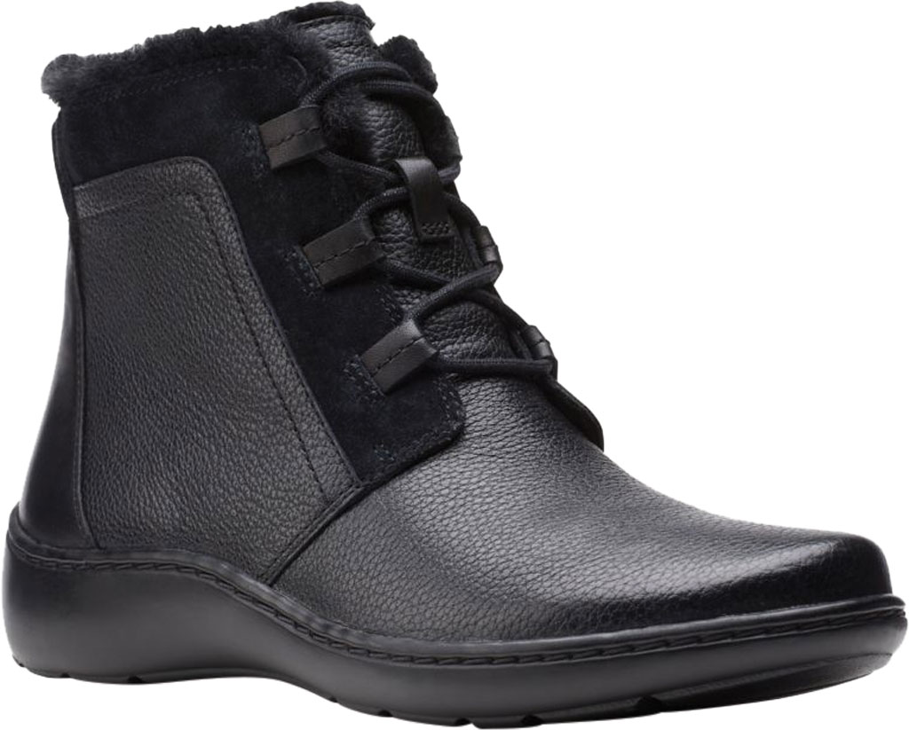 Women's Clarks Cora Chai Ankle Bootie, Black Full Grain Leather, large, image 1