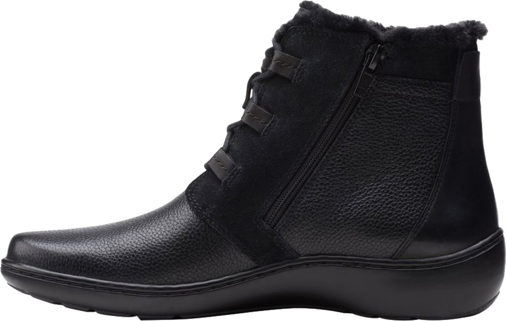 Women's Clarks Cora Chai Ankle Bootie, Black Full Grain Leather, large, image 3