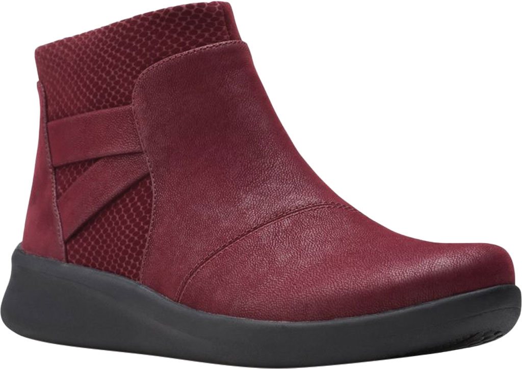 Women's Clarks Sillian 2.0 Hi Ankle Bootie, Burgundy Synthetic, large, image 1