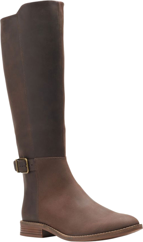 Women's Clarks Camzin Branch Knee High Boot, Dark Brown Leather, large, image 1