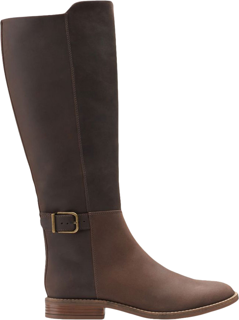 Women's Clarks Camzin Branch Knee High Boot, Dark Brown Leather, large, image 2