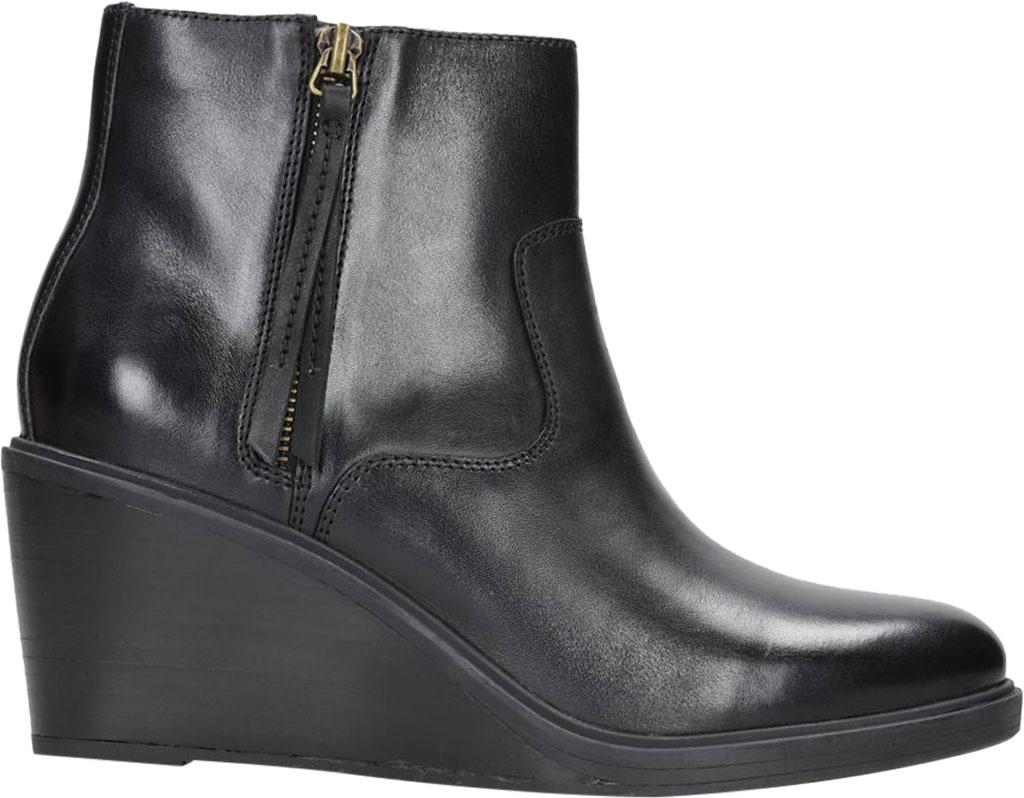 Women's Clarks Clarkdale 2 Zip Wedge Heel Bootie, Black Leather, large, image 1