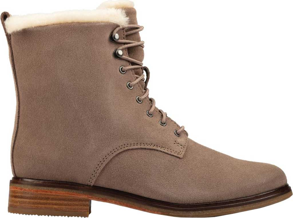 Women's Clarks Clarkdale Lace Ankle Bootie, Pebble Warm Lined Suede, large, image 2