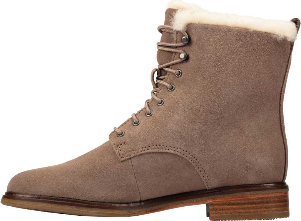 Women's Clarks Clarkdale Lace Ankle Bootie, Pebble Warm Lined Suede, large, image 3