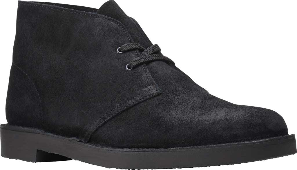 Men's Clarks Bushacre 3 Chukka Boot, Black Waxy Suede, large, image 1