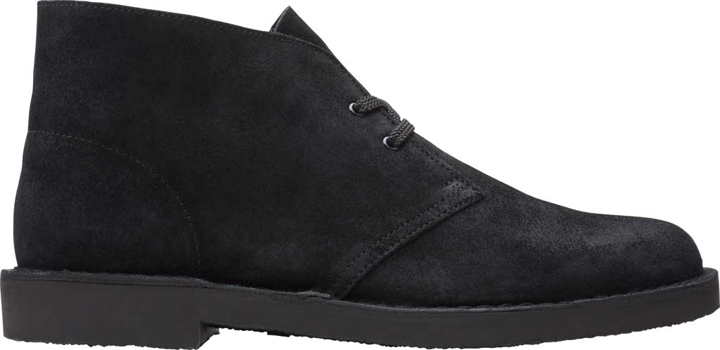 Men's Clarks Bushacre 3 Chukka Boot, Black Waxy Suede, large, image 2