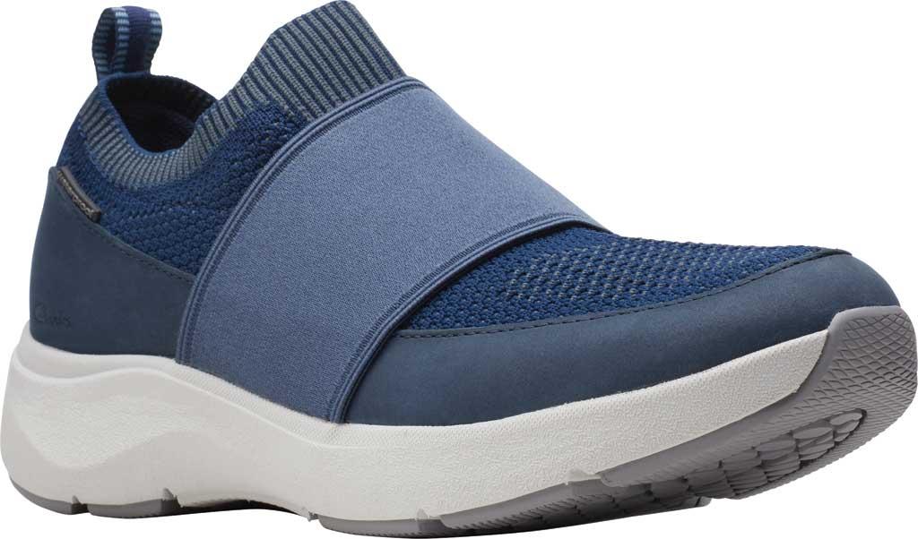 Women's Clarks Wave 2.0 Step Slip On Sneaker, Navy Combination Nubuck/Textile, large, image 1