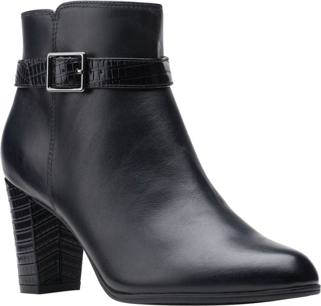 Women's Clarks Alayna Juno Heeled Ankle Bootie, Black Combination Leather/Synthetic, large, image 1