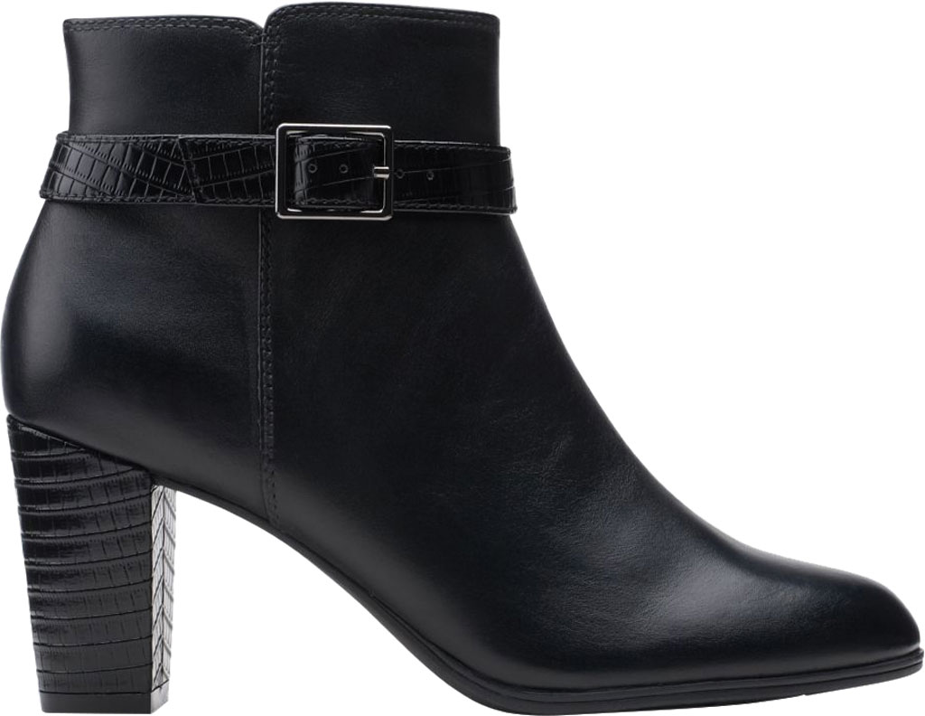 Women's Clarks Alayna Juno Heeled Ankle Bootie, Black Combination Leather/Synthetic, large, image 2