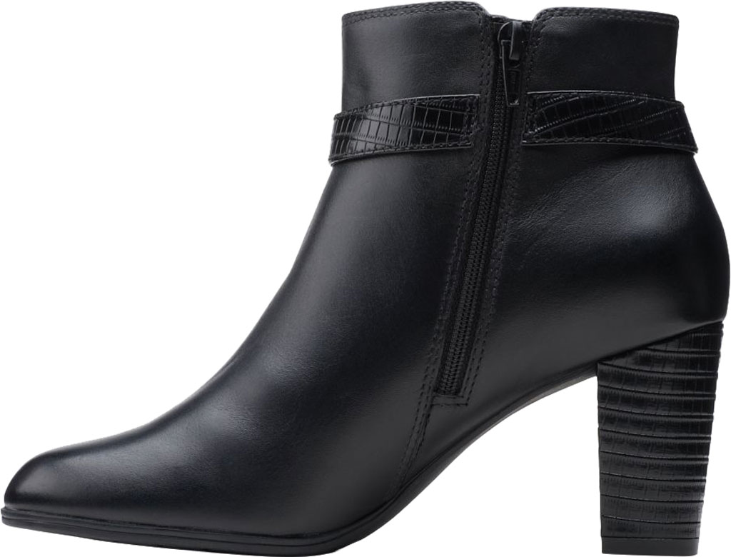 Women's Clarks Alayna Juno Heeled Ankle Bootie, Black Combination Leather/Synthetic, large, image 3