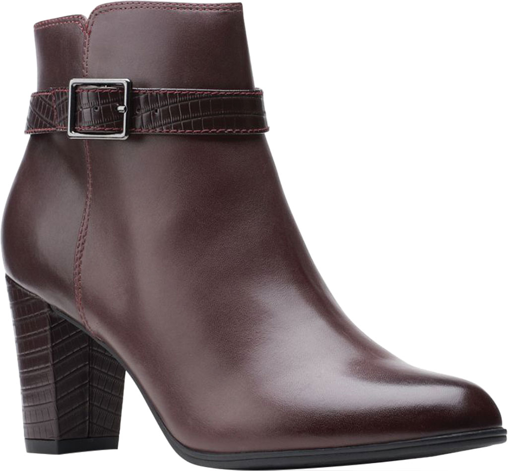 Women's Clarks Alayna Juno Heeled Ankle Bootie, Burgundy Combination Leather/Synthetic, large, image 1