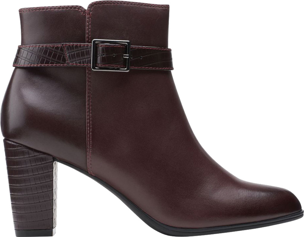 Women's Clarks Alayna Juno Heeled Ankle Bootie, Burgundy Combination Leather/Synthetic, large, image 2