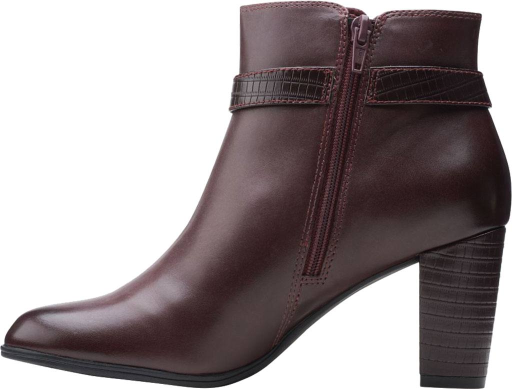Women's Clarks Alayna Juno Heeled Ankle Bootie, Burgundy Combination Leather/Synthetic, large, image 3