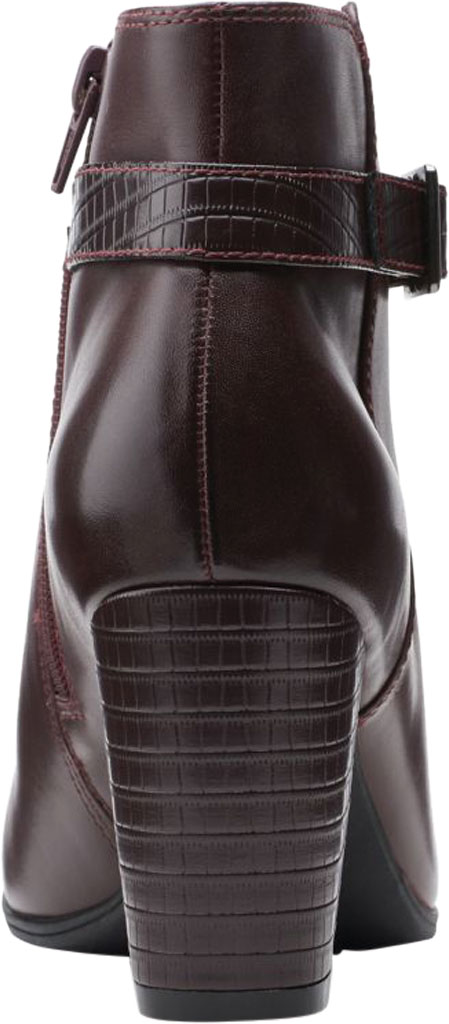 Women's Clarks Alayna Juno Heeled Ankle Bootie, Burgundy Combination Leather/Synthetic, large, image 4