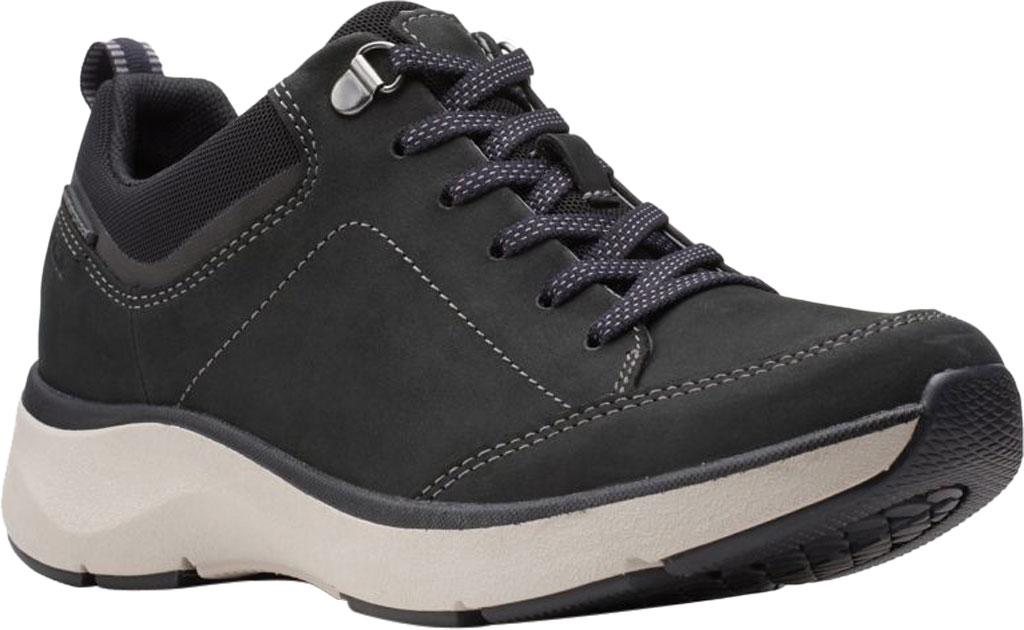 Women's Clarks Wave 2.0 Lace Sneaker, Black Combination Nubuck/Textile, large, image 1