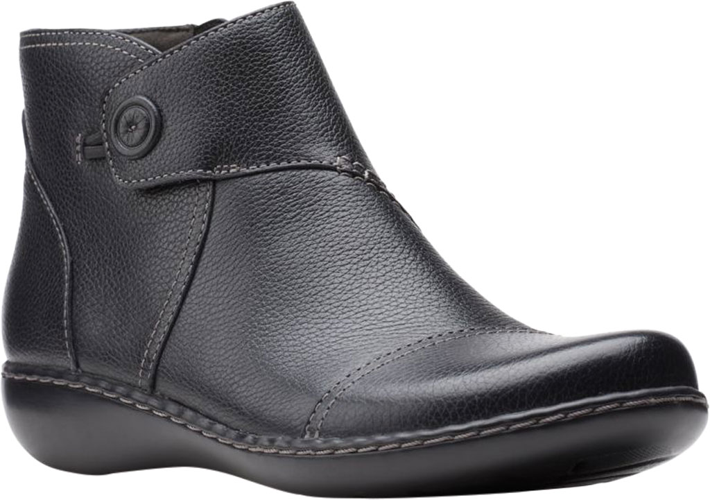 Women's Clarks Ashland Holly Ankle Bootie, Black Full Grain Leather, large, image 1
