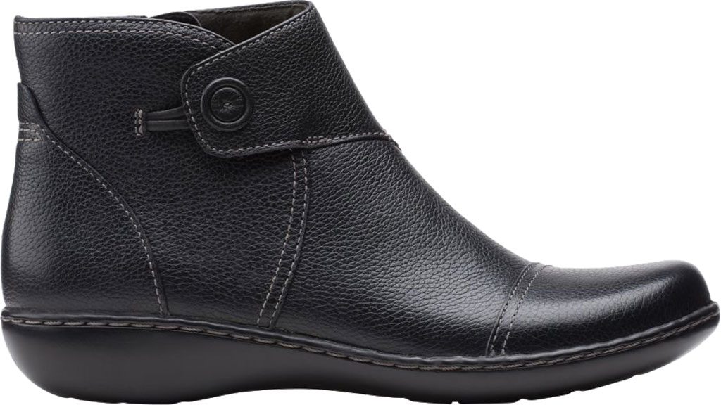 Women's Clarks Ashland Holly Ankle Bootie, Black Full Grain Leather, large, image 2