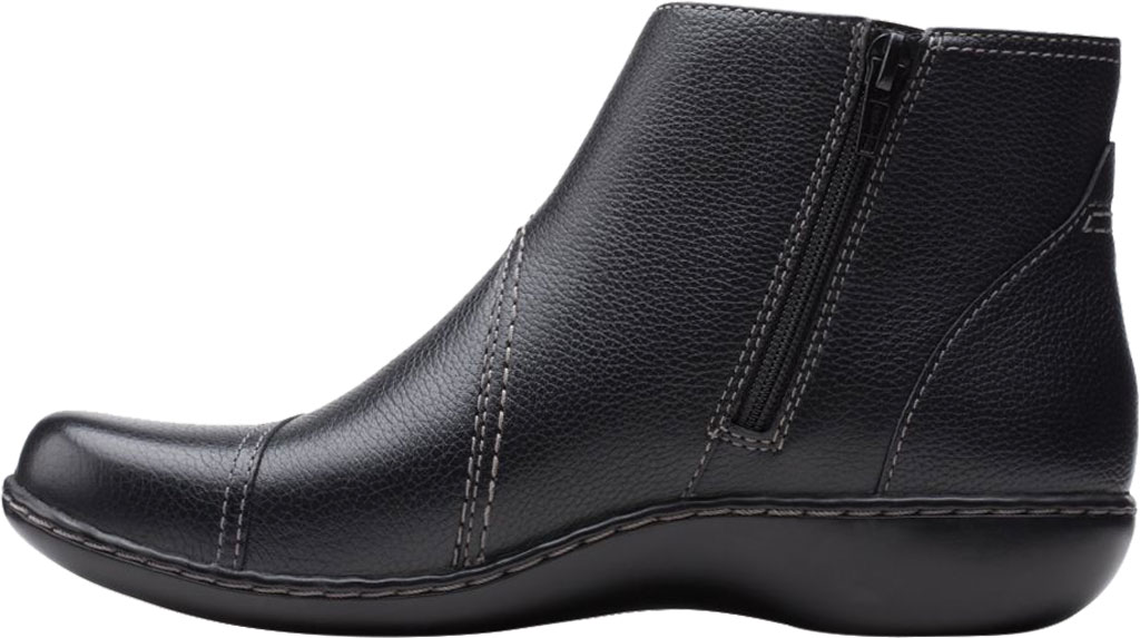 Women's Clarks Ashland Holly Ankle Bootie, Black Full Grain Leather, large, image 3
