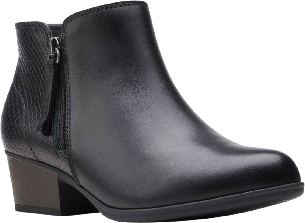 Women's Clarks Areenda Hope Ankle Bootie, Black Leather, large, image 1