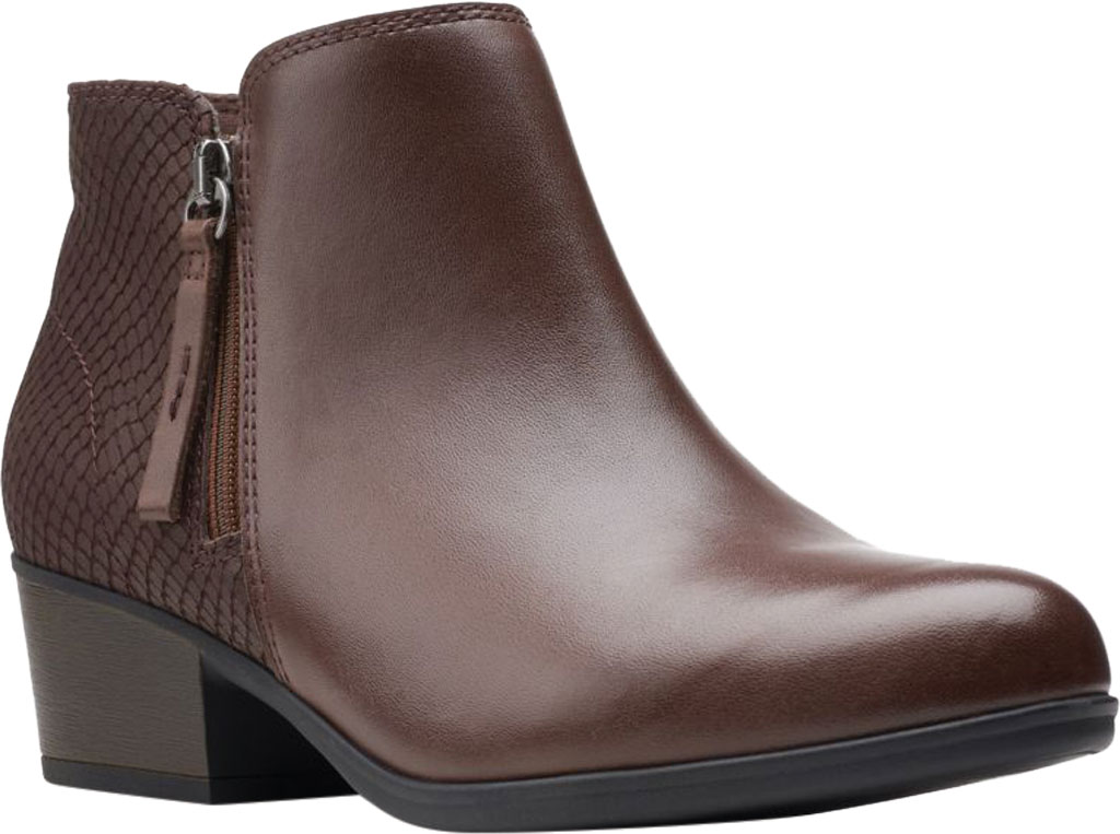 Women's Clarks Areenda Hope Ankle Bootie, Brown Leather, large, image 1