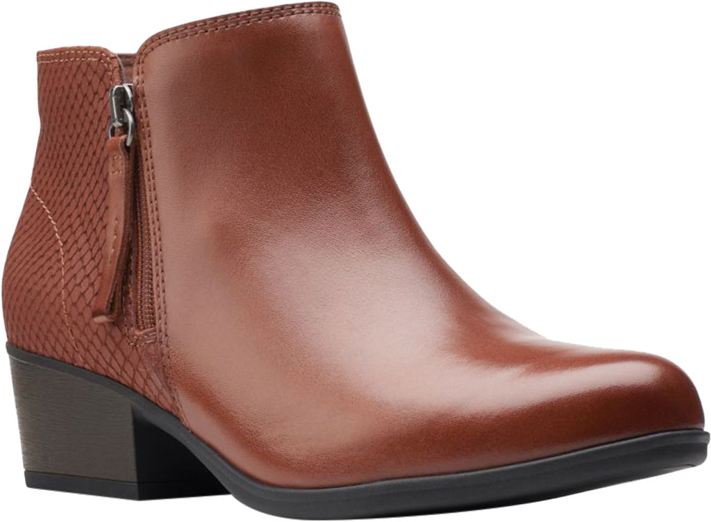 Women's Clarks Areenda Hope Ankle Bootie, Mahogany Leather, large, image 1