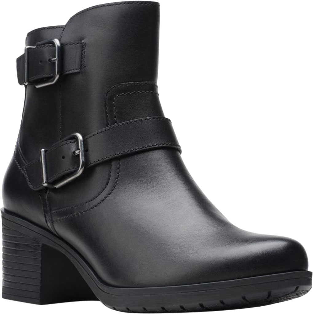 Women's Clarks Hollis Sonar Ankle Bootie, Black Full Grain Leather, large, image 1