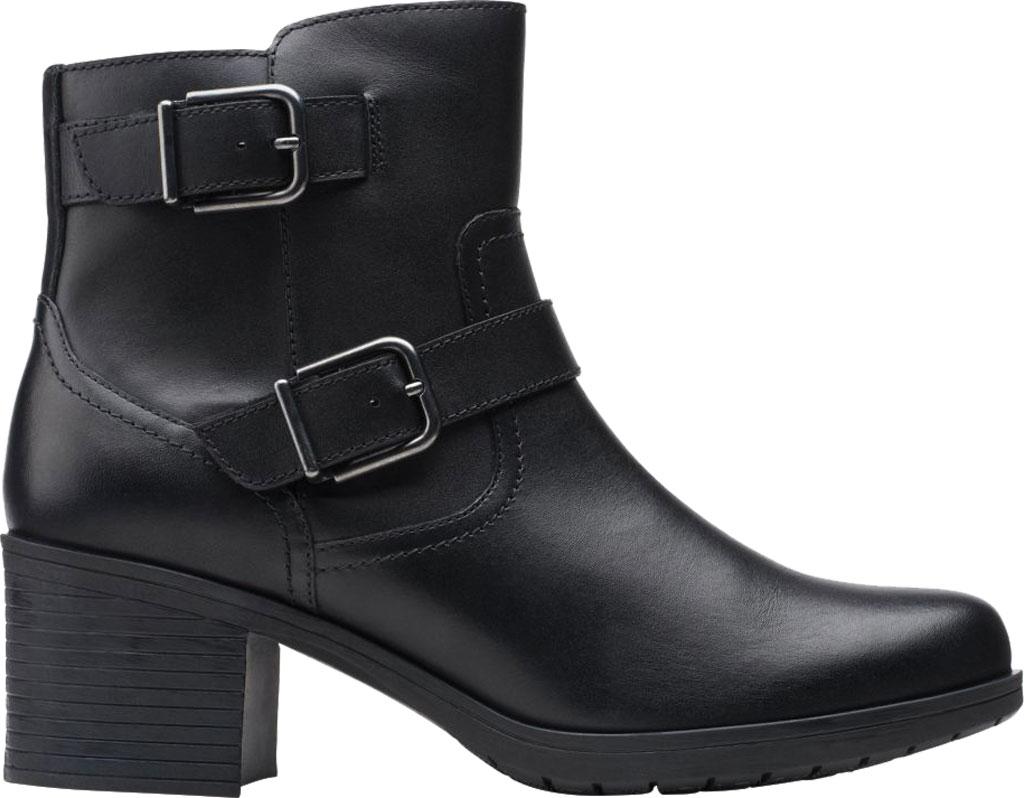 Women's Clarks Hollis Sonar Ankle Bootie, Black Full Grain Leather, large, image 2