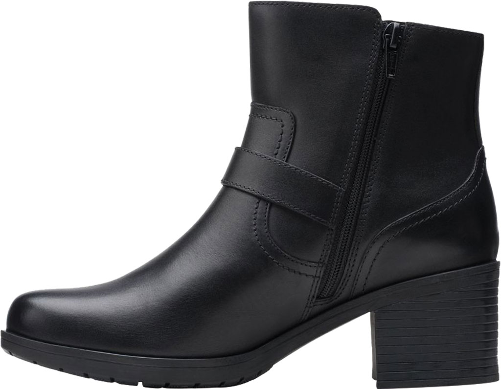 Women's Clarks Hollis Sonar Ankle Bootie, Black Full Grain Leather, large, image 3