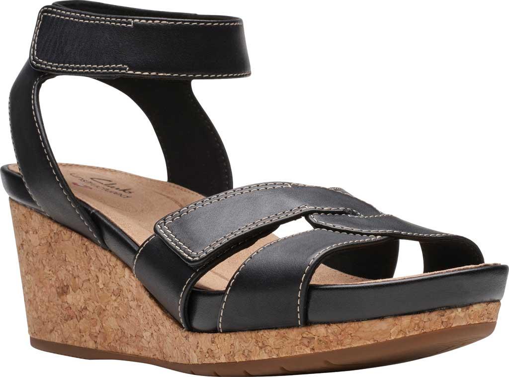 Women's Clarks Un Capri Strap Wedge Sandal, Black Full Grain Leather, large, image 1
