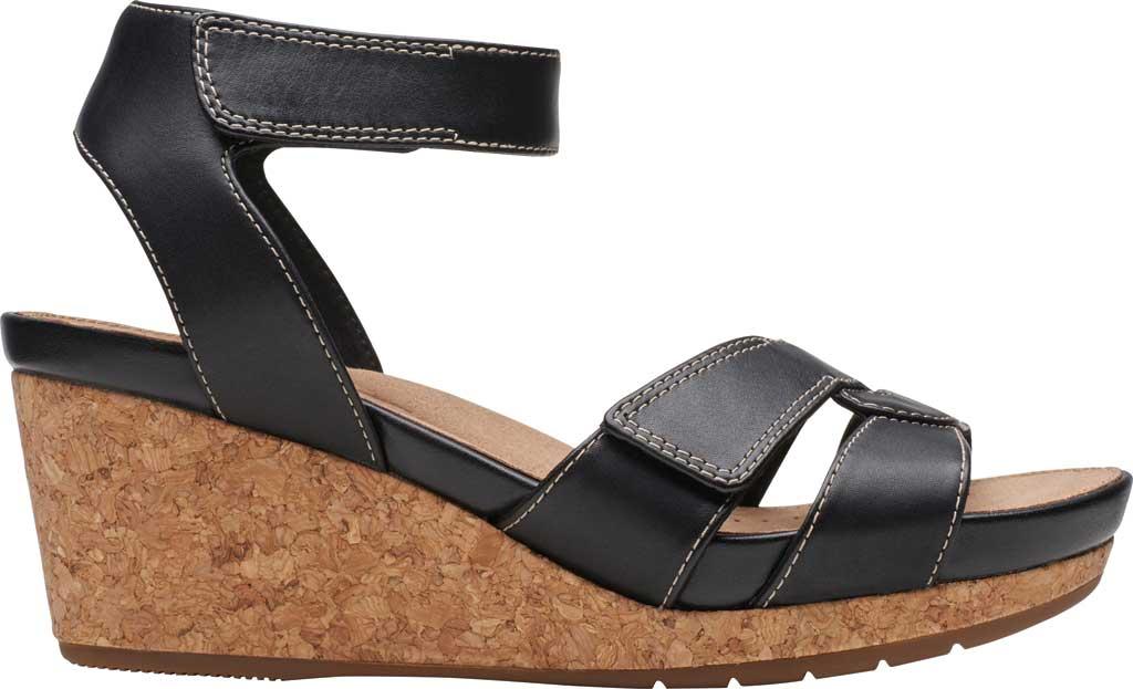 Women's Clarks Un Capri Strap Wedge Sandal, Black Full Grain Leather, large, image 2