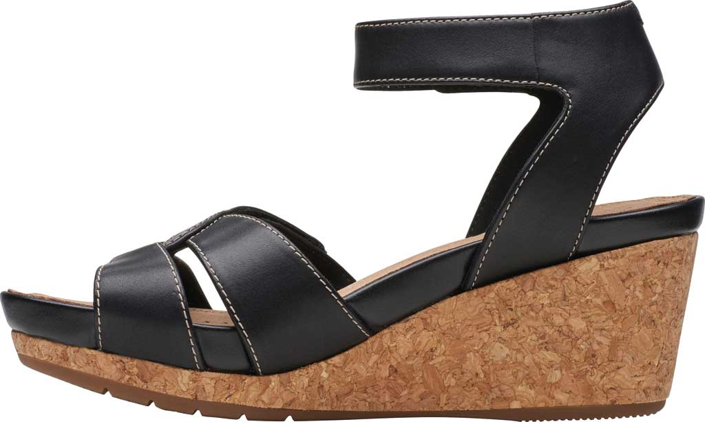 Women's Clarks Un Capri Strap Wedge Sandal, Black Full Grain Leather, large, image 3