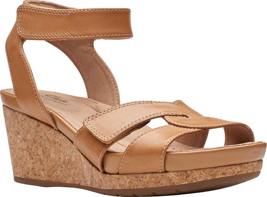 Women's Clarks Un Capri Strap Wedge Sandal, Light Tan Full Grain Leather, large, image 1