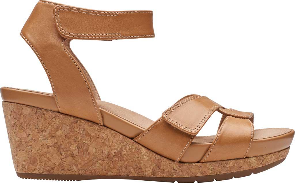 Women's Clarks Un Capri Strap Wedge Sandal, Light Tan Full Grain Leather, large, image 2