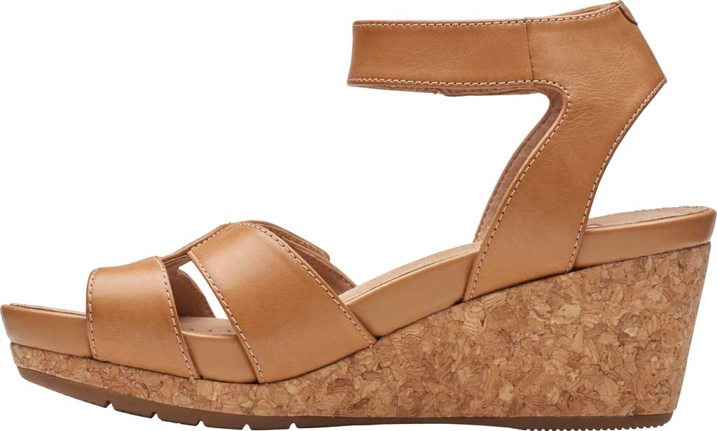 Women's Clarks Un Capri Strap Wedge Sandal, Light Tan Full Grain Leather, large, image 3
