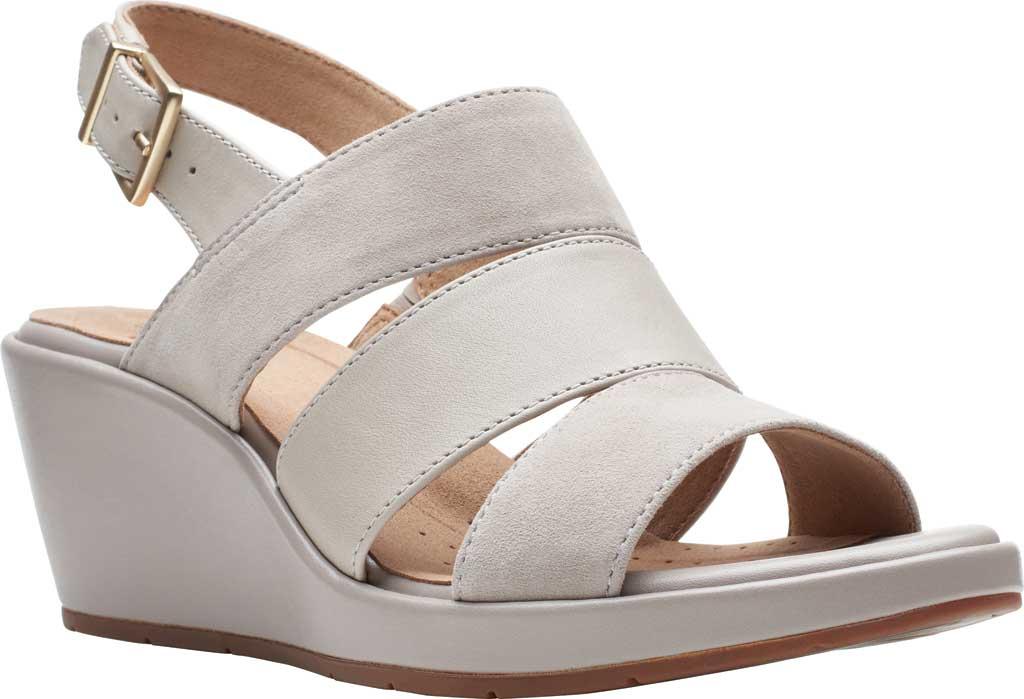 Women's Clarks Un Plaza Go Wedge Sandal, Stone Combination Full Grain Leather, large, image 1