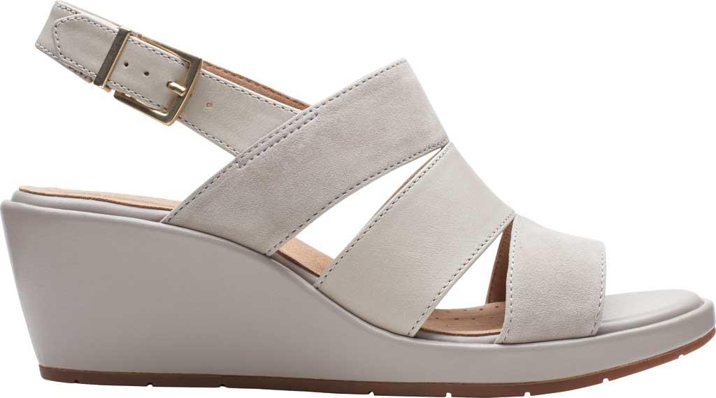 Women's Clarks Un Plaza Go Wedge Sandal, Stone Combination Full Grain Leather, large, image 2