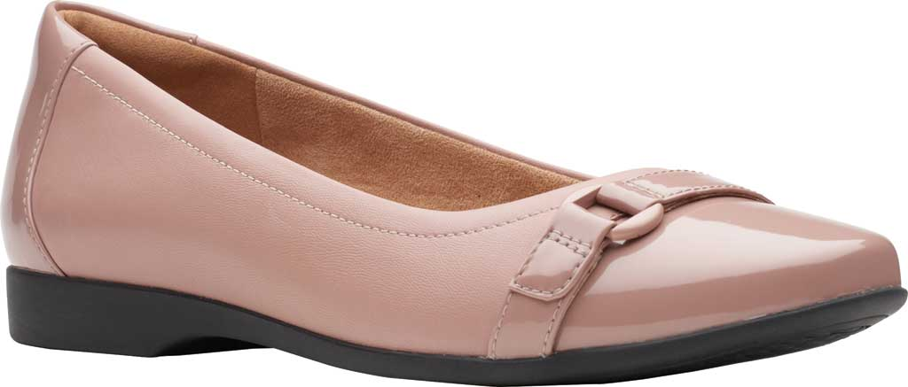 Women's Clarks Un Darcey Go Flat, Dusty Pink Combination Suede, large, image 1