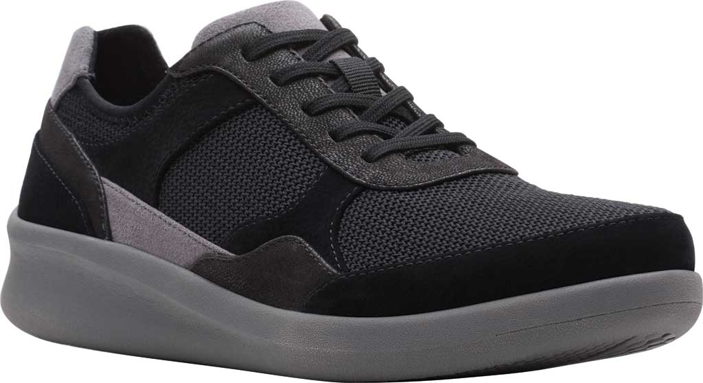 Women's Clarks Sillian 2.0 Lace Sneaker, Black Fabric, large, image 1