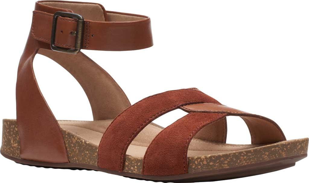 Women's Clarks Un Perri Loop Ankle Strap Sandal, Dark Tan Combination Full Grain Leather, large, image 1