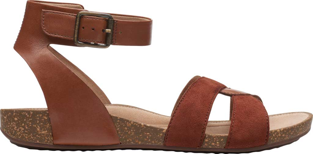 Women's Clarks Un Perri Loop Ankle Strap Sandal, Dark Tan Combination Full Grain Leather, large, image 2