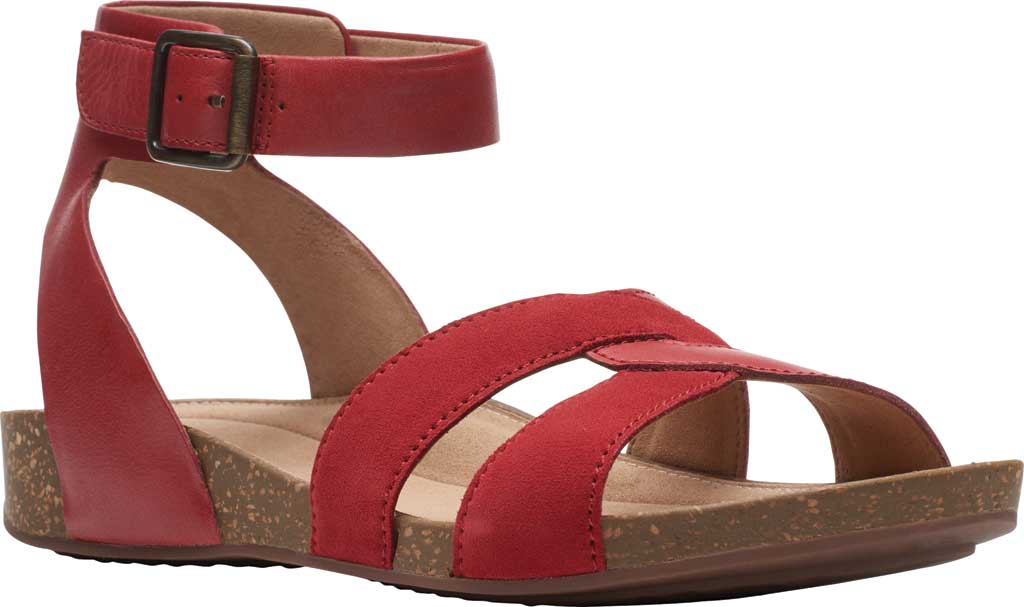 Women's Clarks Un Perri Loop Ankle Strap Sandal, Red Combination Full Grain Leather, large, image 1