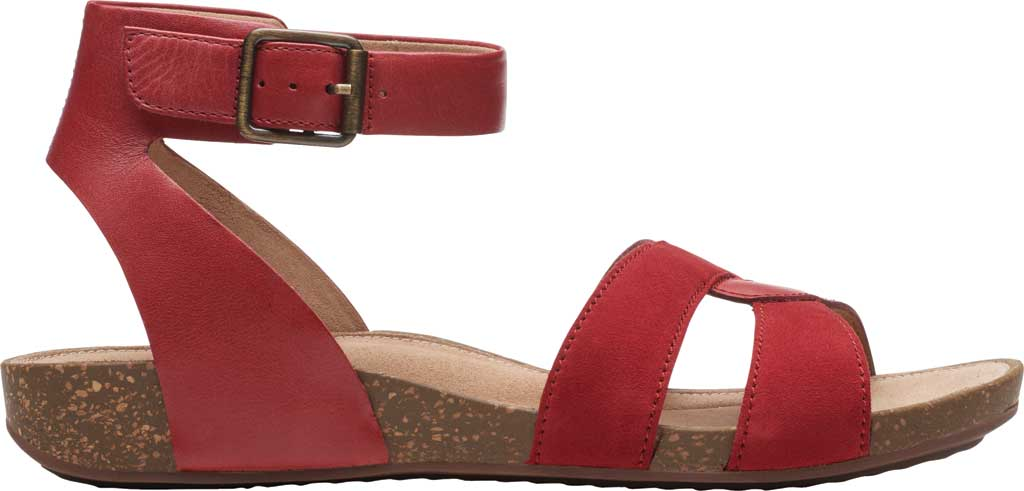 Women's Clarks Un Perri Loop Ankle Strap Sandal, Red Combination Full Grain Leather, large, image 2