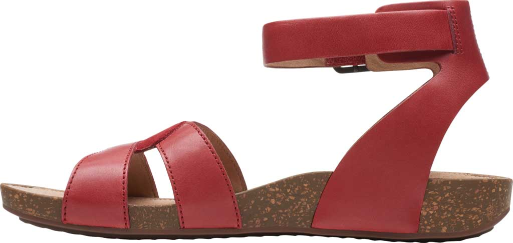 Women's Clarks Un Perri Loop Ankle Strap Sandal, Red Combination Full Grain Leather, large, image 3