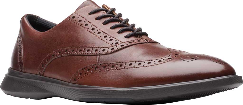 Men's Clarks Un Lipari Ave Wing Tip Oxford, Mahogany Full Grain Leather, large, image 1