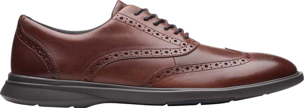 Men's Clarks Un Lipari Ave Wing Tip Oxford, Mahogany Full Grain Leather, large, image 2