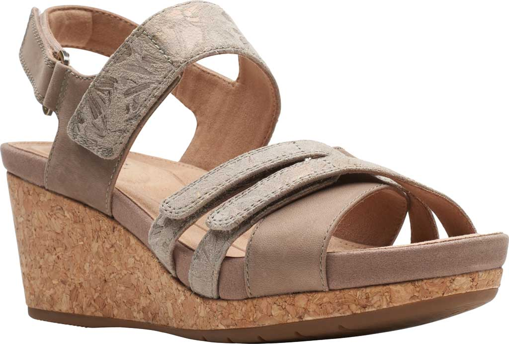Women's Clarks Un Capri Walk Wedge Sandal, Taupe Nubuck/Leather, large, image 1